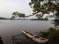 srilanka village fishing boat on wewa