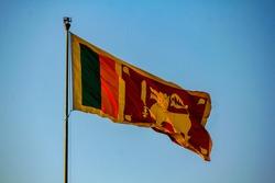 Srilankan flag flying high in Galle Face, Colombo, Sri Lanka. Selective focus