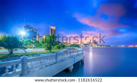 Sriracha  cityscape at twilight at Hoang Chonburi .Long Exposures twilight and HDDR twilight photography. #1182616522