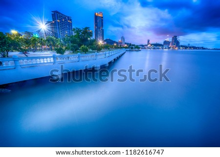 Sriracha  cityscape at twilight at Hoang Chonburi .Long Exposures twilight and HDDR twilight photography. #1182616747