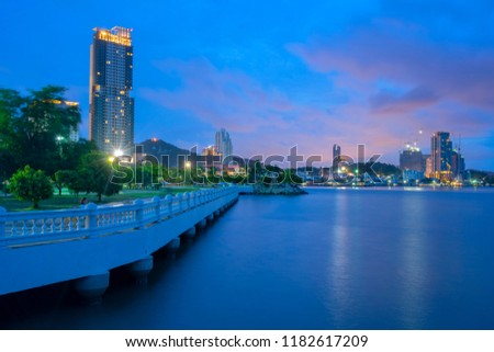 Sriracha  cityscape at twilight at Hoang Chonburi .Long Exposures twilight and HDDR twilight photography. #1182617209