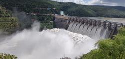 Srisailam Dam, Andhrapradesh / India - Dec 15, 2019 : Dam on Krishna River flowing between Andhra  and Telangana. 9 Gates of the Dam were open.