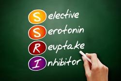 SSRI - Selective Serotonin Reuptake Inhibitor acronym, concept on blackboard