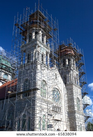 St Adalbert��s Catholic Church: Repair work is being done with new cooper shingles on the top of the basilica of St Adalbert�s Church in Grand Rapids Michigan.