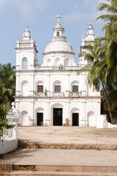 St. Alex Church, a large Catholic church with a falsa cupola in Calangute, Goa, India