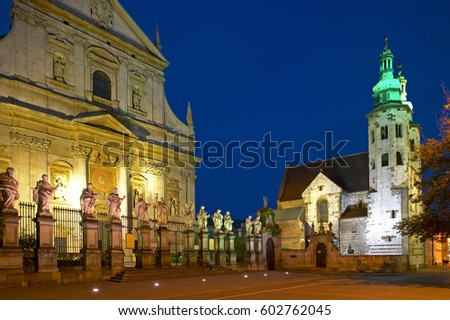 St Andrew's Church and parish church of St. Peter and Paul in Krakow by night, Poland, Europe #602762045