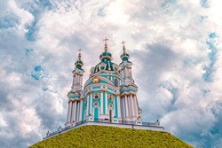 St. Andrews Church - major Baroque church is located at the top of the Andriyivskyy Descent in Kyiv, Ukraine