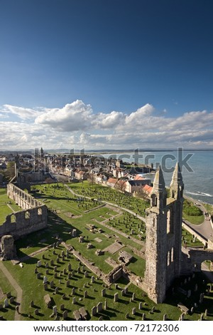 St Andrews viewed from the top of St Rules tower in the cathedral grounds.