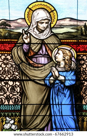 St. Anne and the Blessed Mother As A Child Vertical