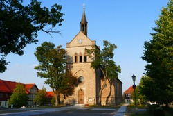 St. Anthony's Church in Hasselfelde in the evening sun, consecrated in 1851. All previous churches in the same place have been destroyed by fires and war - city Hasselfelde, Harz mountains, Germany