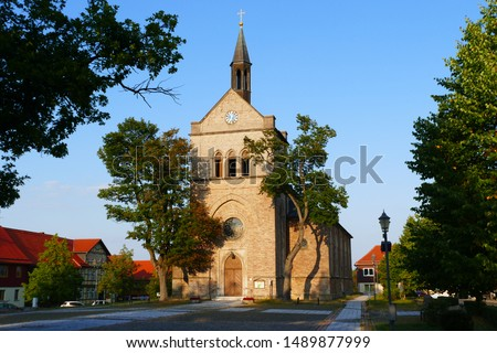 St. Anthony's Church in Hasselfelde in the evening sun, consecrated in 1851. All previous churches in the same place have been destroyed by fires and war - city Hasselfelde, Harz mountains, Germany #1489877999
