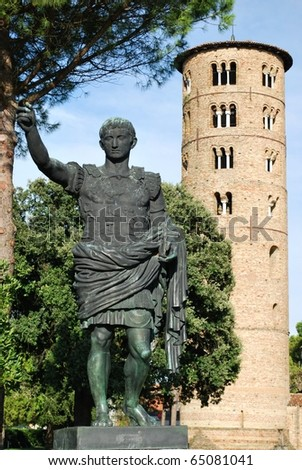St. Apollinare in Classe statue and round tower, Ravenna, Italy