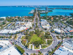 St Armands Circle Sarasota Florida Lido Key Aerial Drone Picture Blue Sunny Skies
