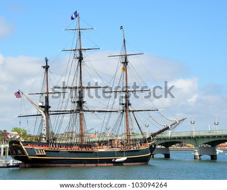 "ST. AUGUSTINE, FLORIDA - APRIL 30: The HMS Bounty docked at St. Augustine, Florida April 30, 2012. The famous ship was built for the 1962 movie ""Mutiny on the Bounty"" starring Marlon Brando."