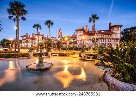 St. Augustine, Florida, USA downtown cityscape at Flagler College.