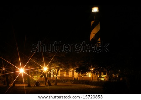 St. Augustine Lighthouse, St. Augustine, Florida, Horizontal at Night with Star Filter