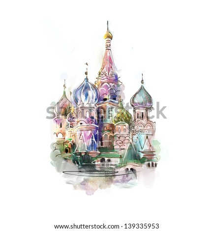 st. basil cathedral on a white...