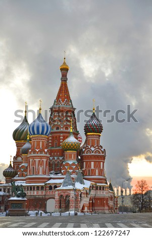 St. Basil Cathedral on Red square, (Cathedral of the Protection of the Virgin on the Ditch) in early winter morning. Moscow, Russia