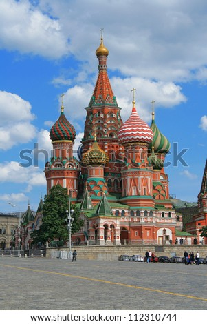 St. Basil's Cathedral at the Red Square of Moscow (Russia). The cathedral was built in the 16th century.