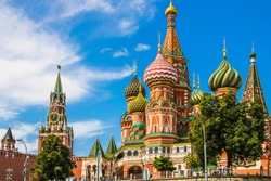 St. Basil's Cathedral in Moscow, an old cathedral near the Moscow Kremlin. Kremlin and Spasskaya tower