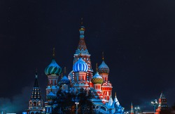 St Basil's Cathedral in Moscow. Night on Red Square under the stars. The most important decoration of the Red Square.