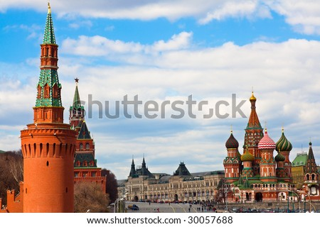 St. Basil's cathedral on Red Square and Kremlin towers in Moscow,Russia