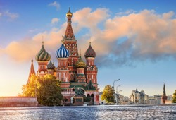 St. Basil's Cathedral on Red Square in Moscow and and  a pink cloud on one autumn morning