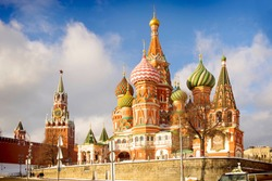 St. Basil's Cathedral on the background of the Kremlin in the city of Moscow. Russia.