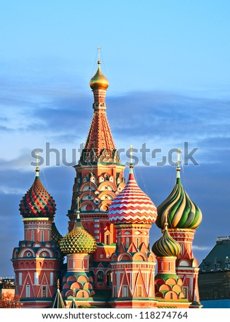 St. Basil's Cathedral (The Cathedral of the Intercession of the Virgin by the Moat) on Red Square in Moscow, Russia