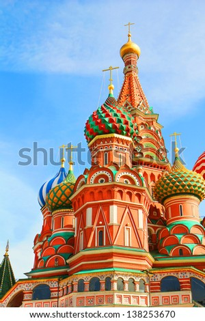 St Basils cathedral and Monument to Minin and Pozharsky on Red Square in Moscow Russia