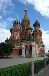 St. Basils cathedral and plaza on Red Square in Moscow city, Russia
