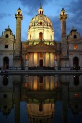 St. Charles Church (Karlskirche) at night, Vienna, Austria