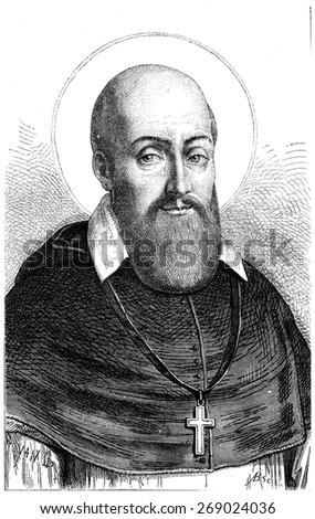 St. Francis de Sales, vintage engraved illustration.