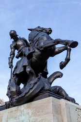 St George and the dragon first world war memorial statue unveiled in 1923 in St John's Wood Road London England UK which is a popular travel destination tourist attraction landmark of the city