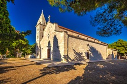 St George Church in Primosten town, a tourist destination on the Dalmatian coast of Adriatic sea in Croatia, Europe.