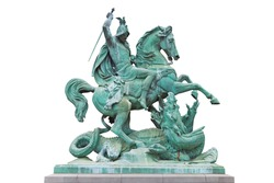 St. George killing the Dragon, bronze statue made by Austrian sculptor Anton Fernkorn in 1853. It's standing next to the Croatian National theatre in Zagreb, Croatia.