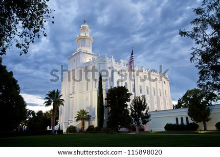 St George Temple at Night with Cloud Cover