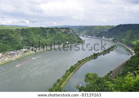 St. Goarshausen and Castle Katze at Rhine Valley in Germany