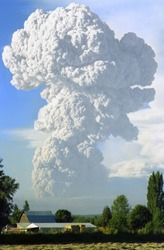 St Helens Eruption (1980) - This poodle shaped plume of ash from the mountain was several days after the main eruption. Taken from Battle Ground, Wa some 30+ miles South.