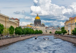 St. Isaac's Cathedral and Moyka river, Saint Petersburg, Russia
