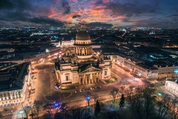 St. Isaac's Cathedral in Saint Petersburg. Museums of Russia. St. Isaac's Cathedral in winter evening. Sunset in Saint Petersburg. Sights of Russia. Petersburg from a bird's eye view. Russia travel
