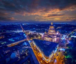 St. Isaac's Cathedral in the evening. Center of St. Petersburg. Petersburg at sunset. St. Isaac's Square. Russia.