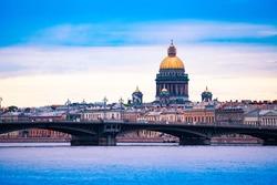 St. Isaac's Cathedral over Neva river Blagoveshchenskiy Bridge, Saint Petersburg, Russia