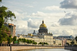 St. Isaac's Cathedral, viewed from Moyka River, St. Petersburg, Russia