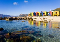 St James Beach with colourful bathing boxes, Cape Town, South Africa