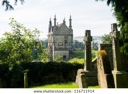 St James Church and lodges to Campden house in old Cotswold town of Chipping Campden