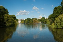 St James Park pond against a blue sky, London, UK