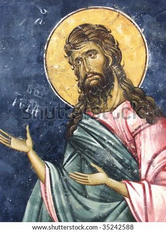 St Johan Baptist, medieval fresco, Kosovo, Serbia