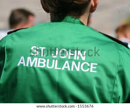 St John Ambulance worker offering medical service