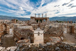 St. John's Basilica ruins view in Selcuk Town of Turkey